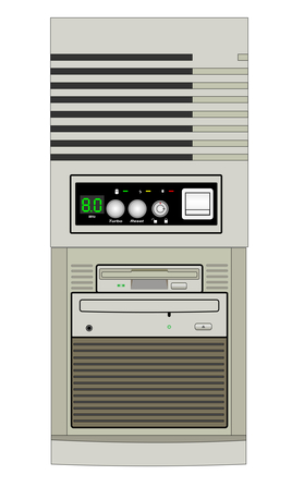 Illustration of computer with Control Panel on a white background